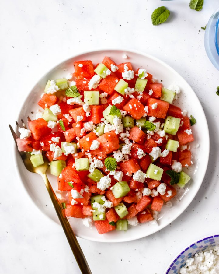 Watermelon Salad With Feta Cucumber