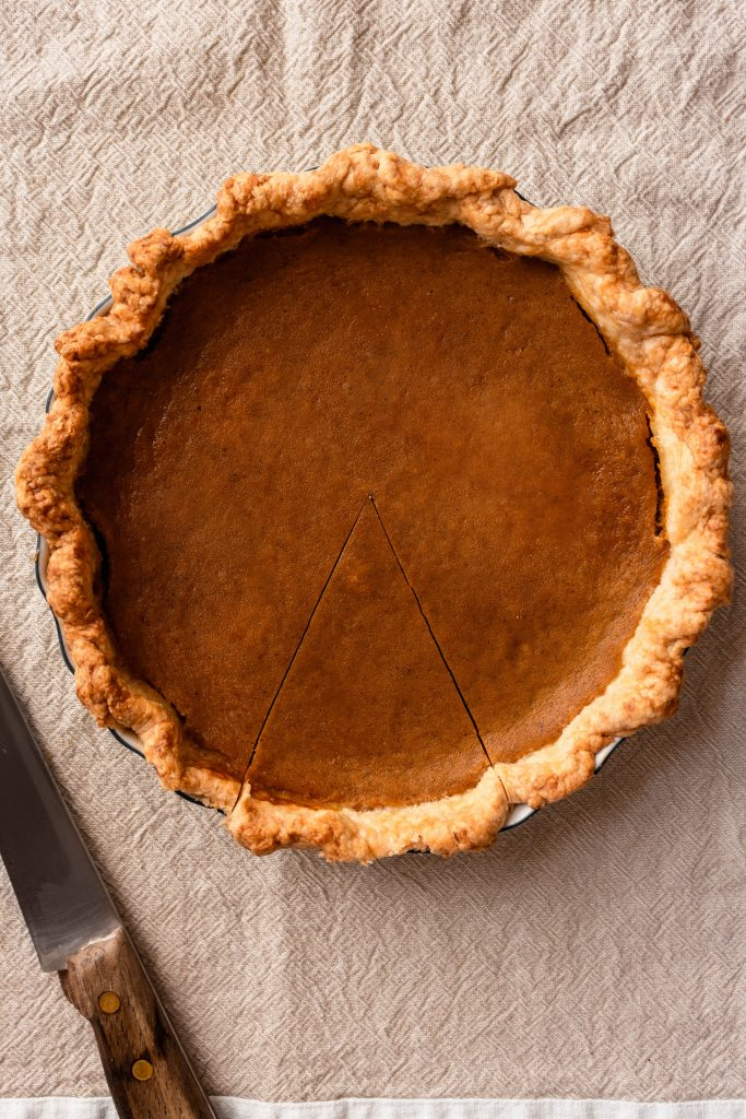 You guys, this pie is creamy CREAMY & has an ultra flaky pie crust! Bonus point: it's made from real pumpkin! You can use sugar pumpkins or butternut squash (I like butternut). It's very simple to make and it's my go-to pumpkin pie recipe, just smaller!