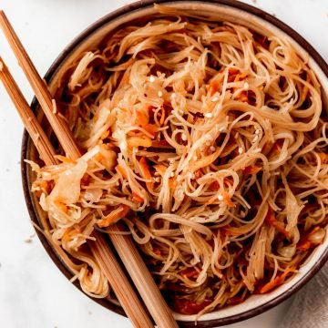 Veggie Vermicelli Stir Fry With Cabbage And Carrots | damnspicy.com