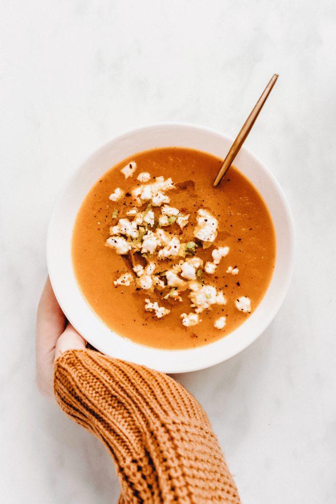 cumin carrot soup with feta