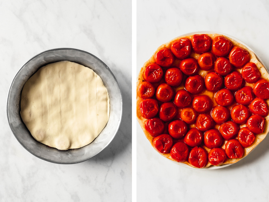 how to make cherry tomato tarte tatin with puff pastry