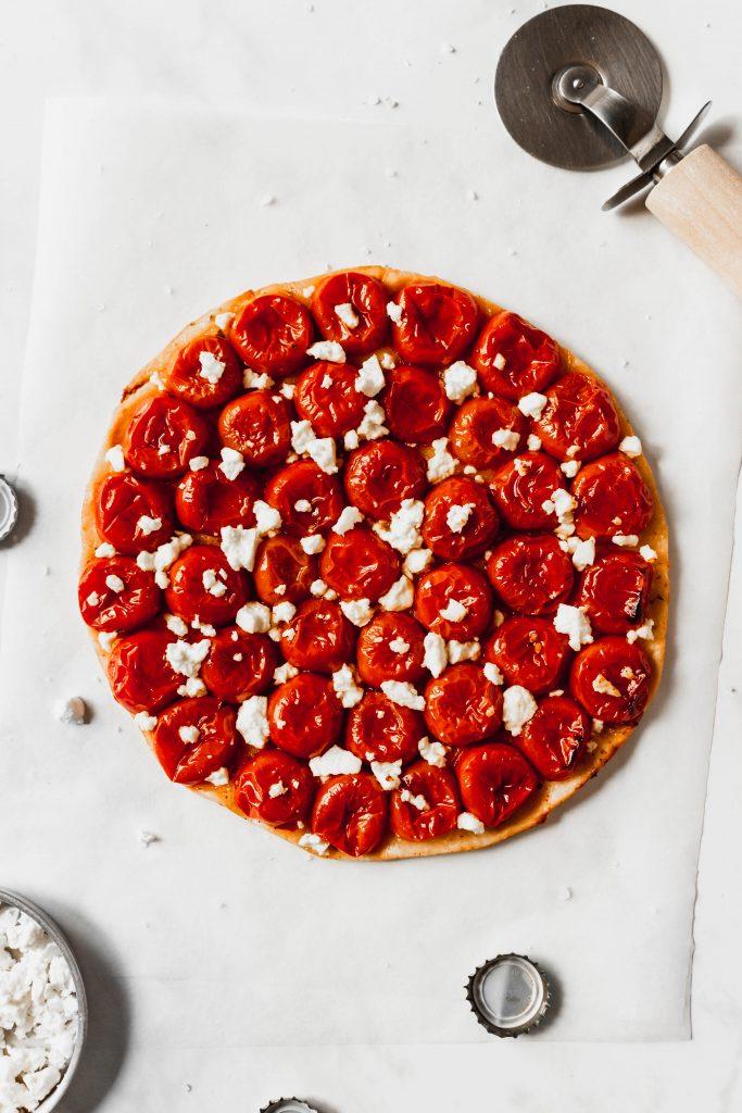 cherry tomato tarte tatin with crumbled feta cheese