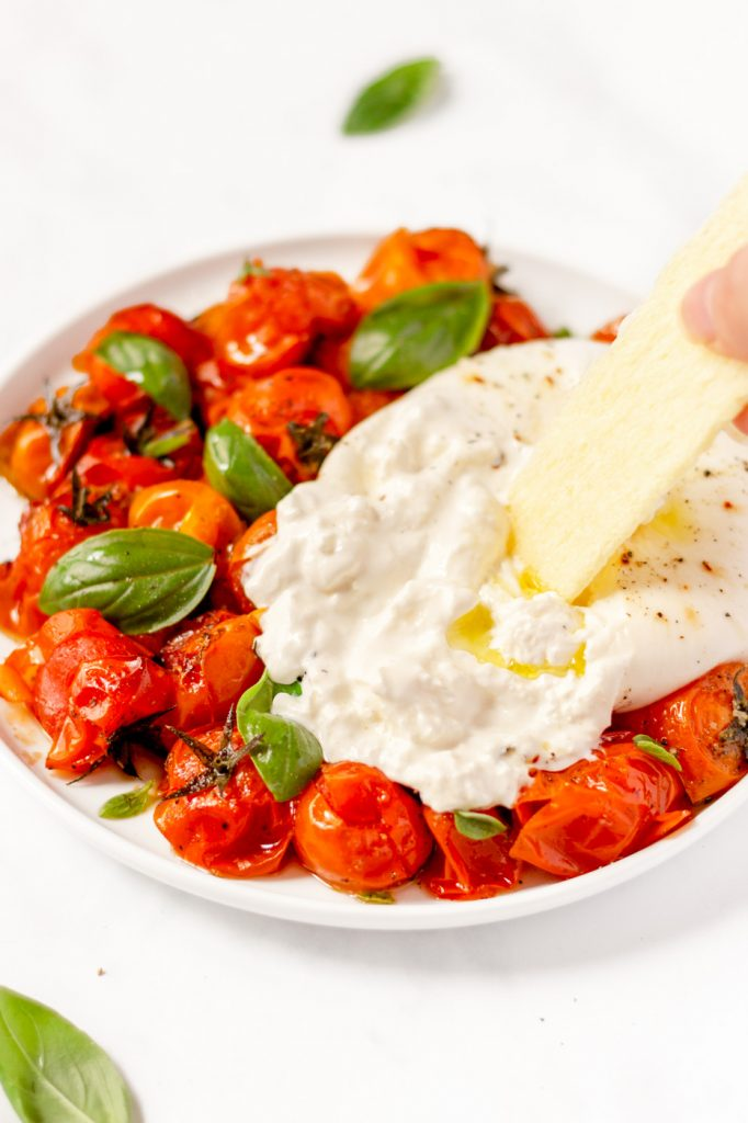 italian burrata salad with roasted cherry tomatoes